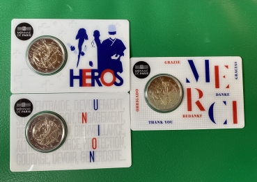 2 Euro Gedenkmünze Frankreich 2020 Medical Research 3 x in Coincard: Merci-Heros-Union