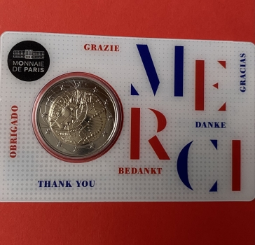 2 Euro Gedenkmünze Frankreich 2020 Medical Research in Coincard Merci