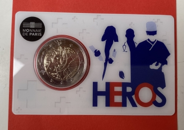 2 Euro Gedenkmünze Frankreich 2020 Medical Research in Coincard Heros
