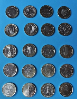 1 Euro Münzen Sammlung Alle 23 Länder Mit Andorra Vatikan Monaco