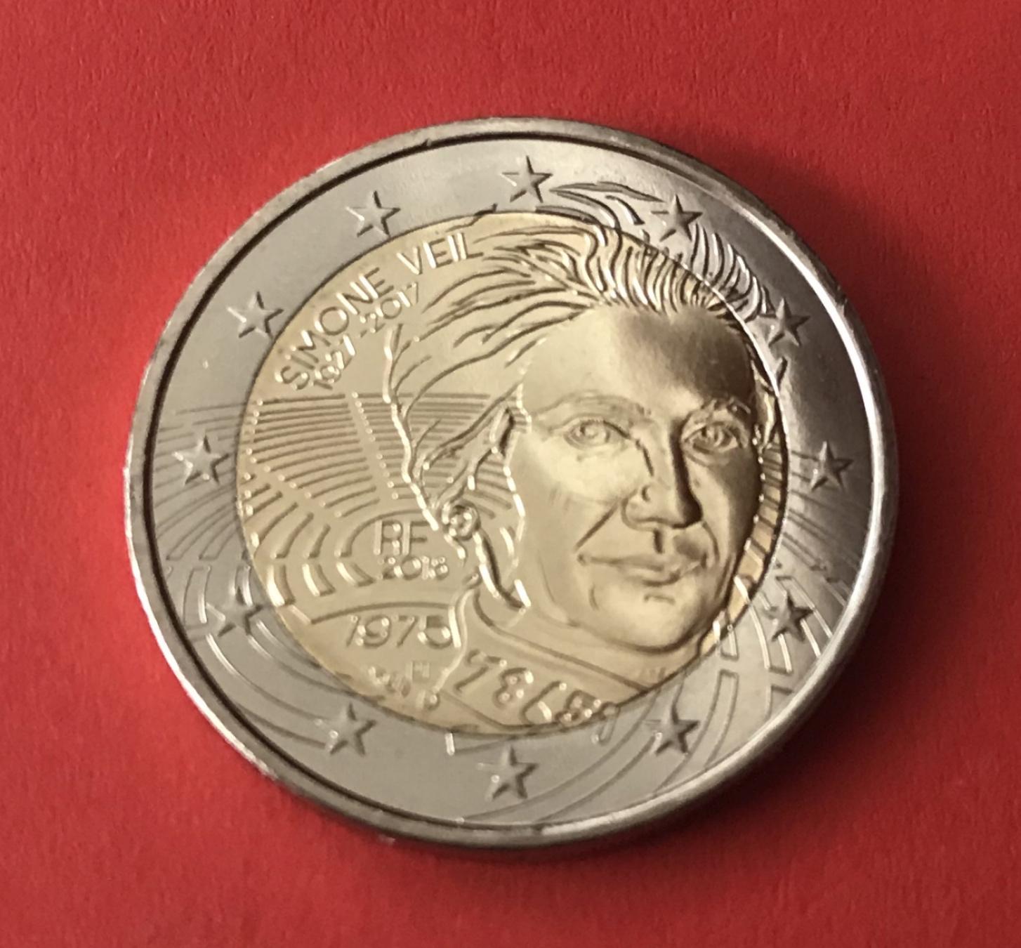 2 Euro Gedenkmünze Frankreich 2018 Simone Veil Muenzhandel Kissercom