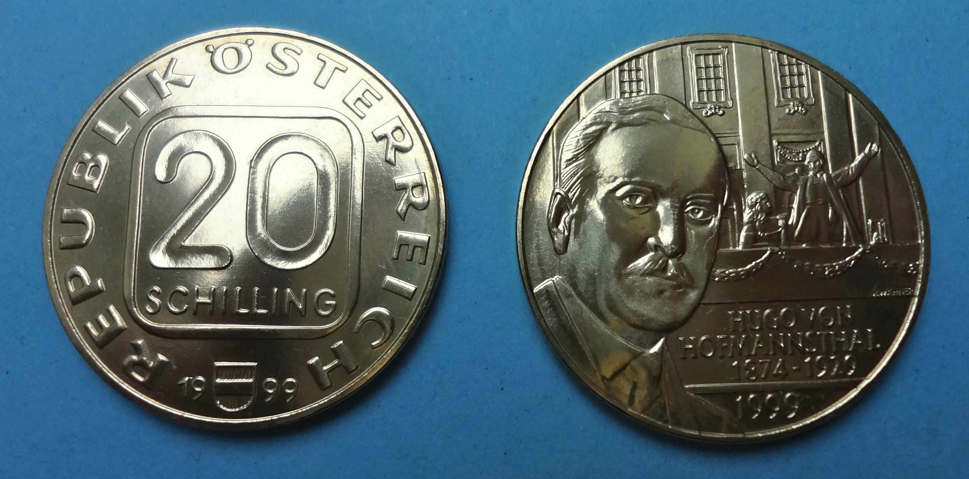 20 Schilling Münze 1999 Hofmannsthal Muenzhandel Kissercom