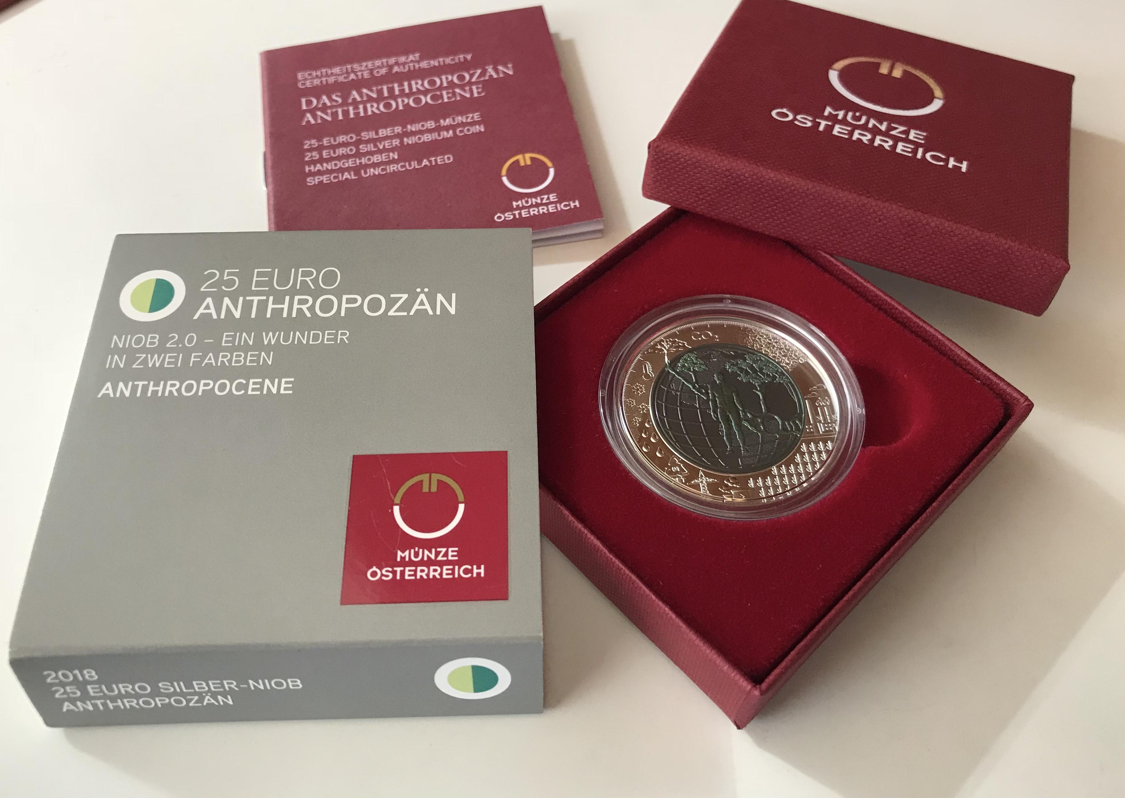 25 Euro Niob österreich 2018 Anthropozän Muenzhandel Kissercom