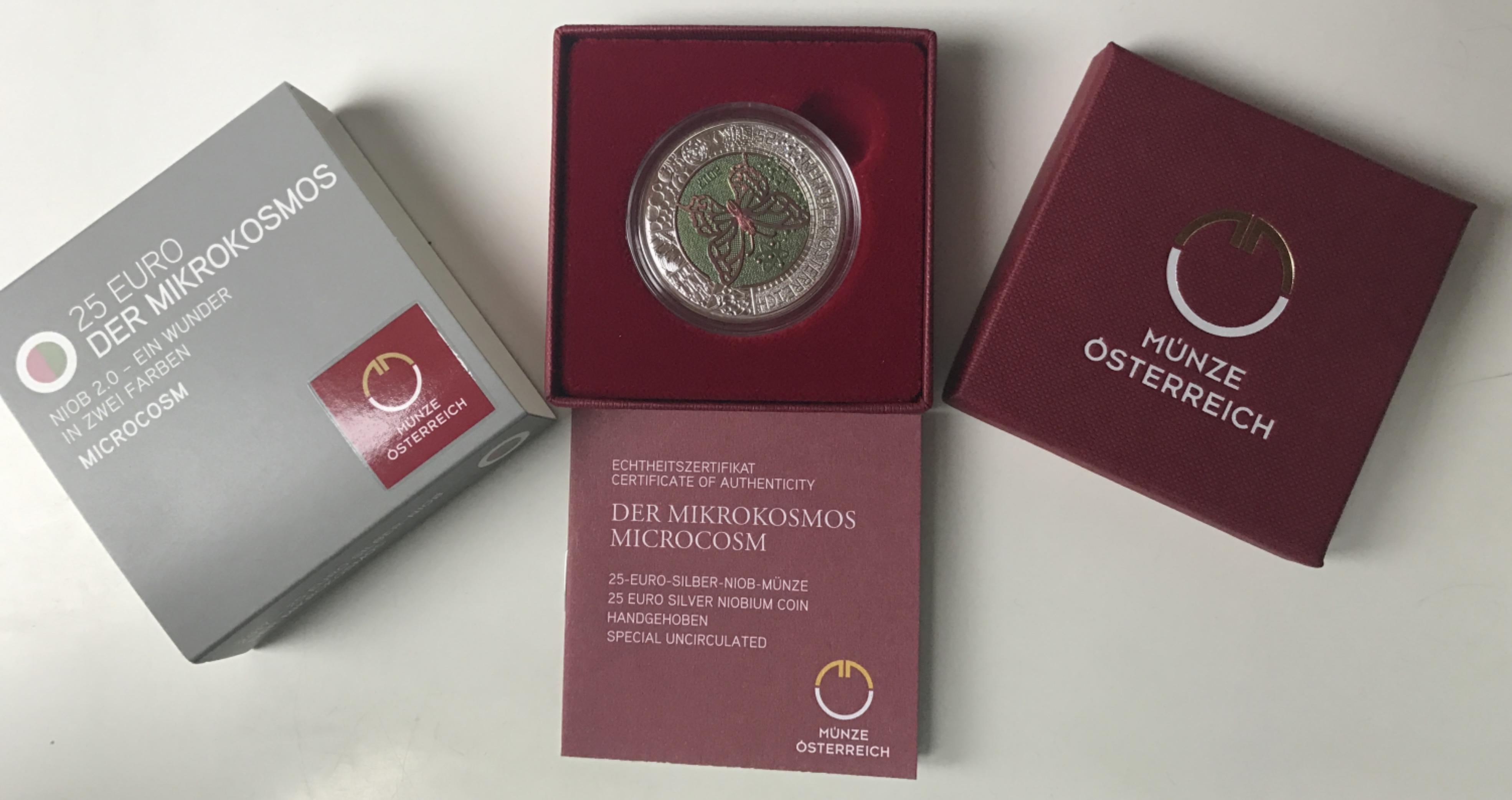 25 Euro Niob österreich 2017 Mikrokosmos Muenzhandel Kissercom