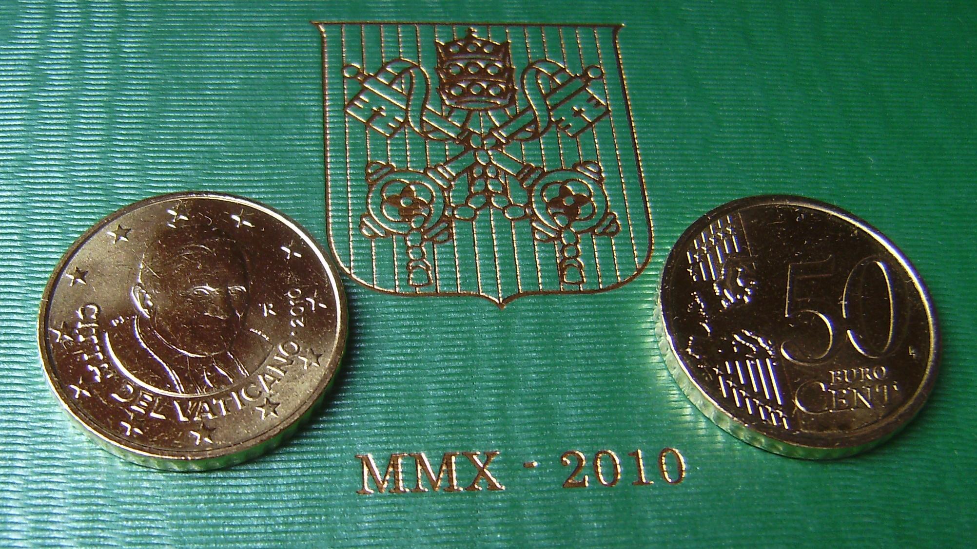50 Euro Cent Kursmünze Vatikan 2010 Papst Benedikt Xvi