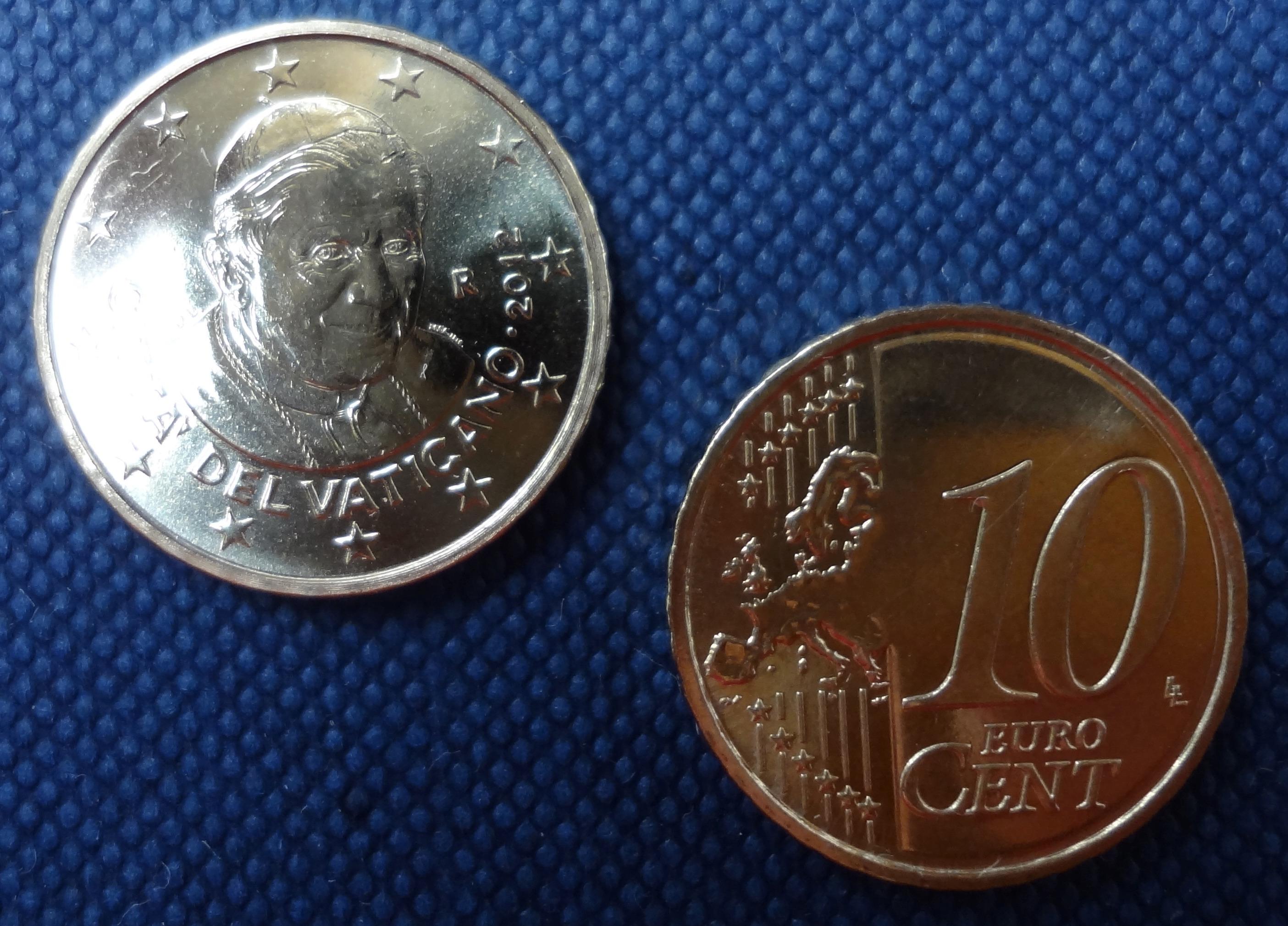 10 Cent Kursmünze Vatikan 2012 Papst Benedikt Xvi Euro
