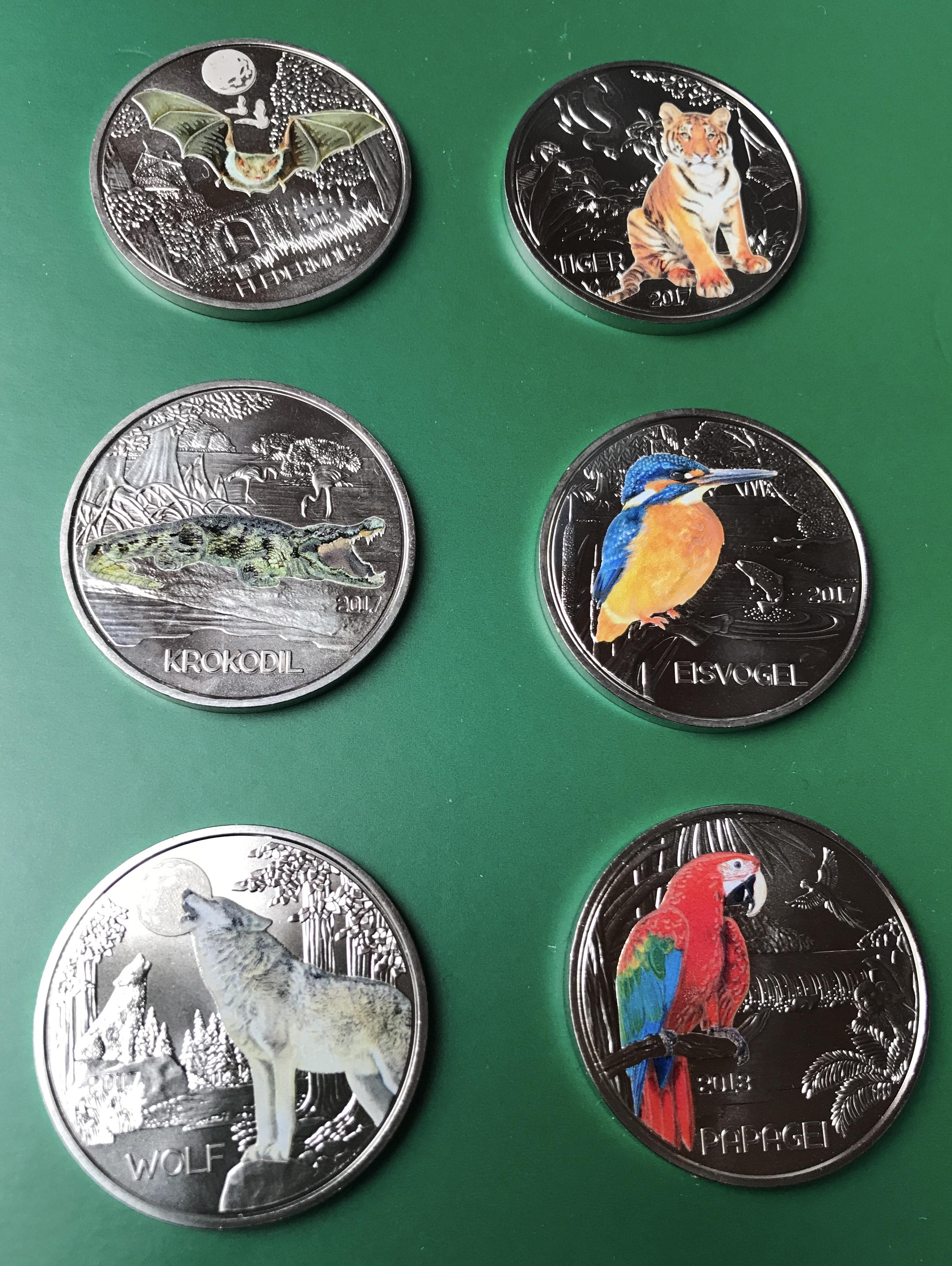 6 X 3 Euro österreich 2017 Fledermaustigerkrokodileisvogelwolf