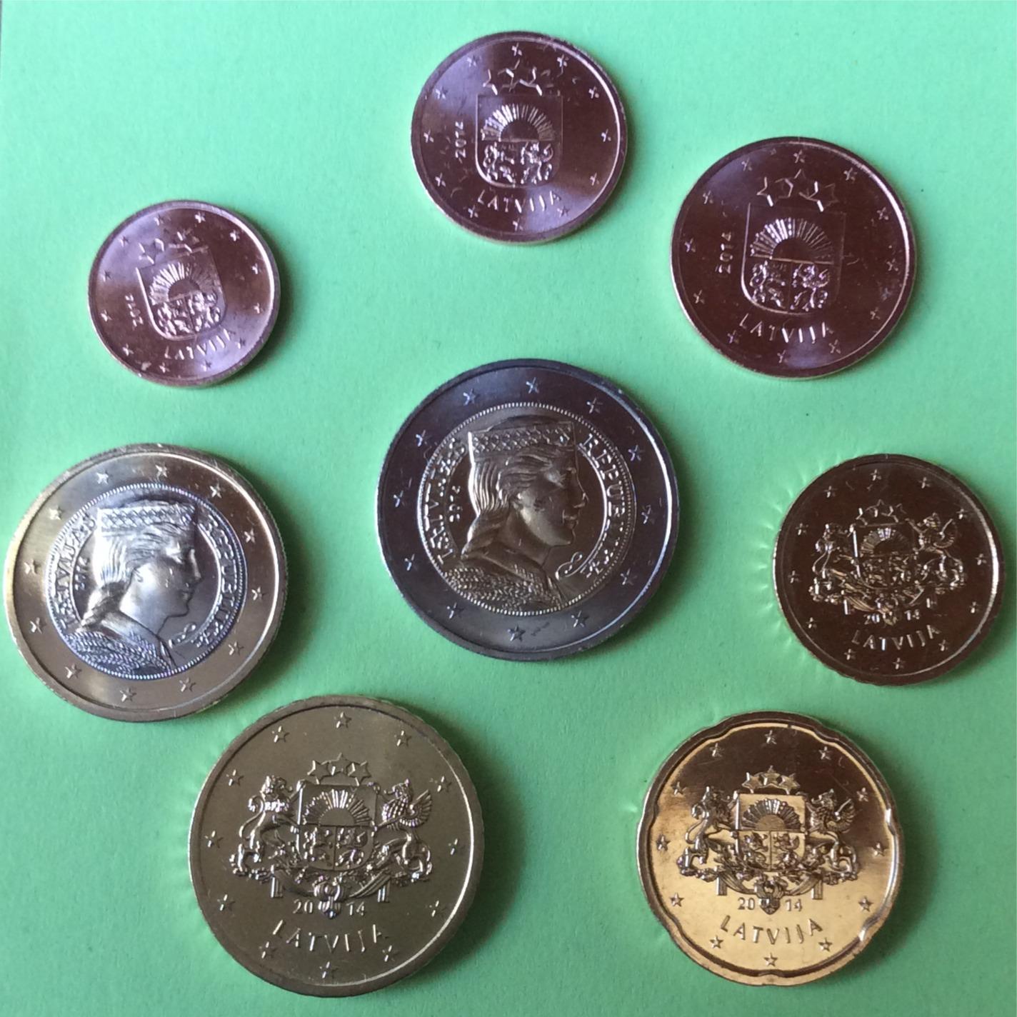 Euromünzen Kms Lettland 2014 1 Cent 2 Euro Andorra Noch Nicht