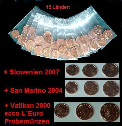 Euro Sammlung 54 X 125 Euro Cent 18 Laender Muenzhandel